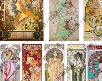Mucha - Art Nouveau Digital Collage - Victorian Posters (1 x A4)