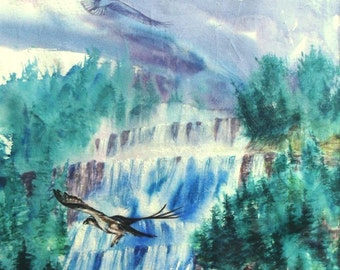 Watercolor painting HAWKS and WATERFALLS, landscape wildlife, free shipping USA and Canada