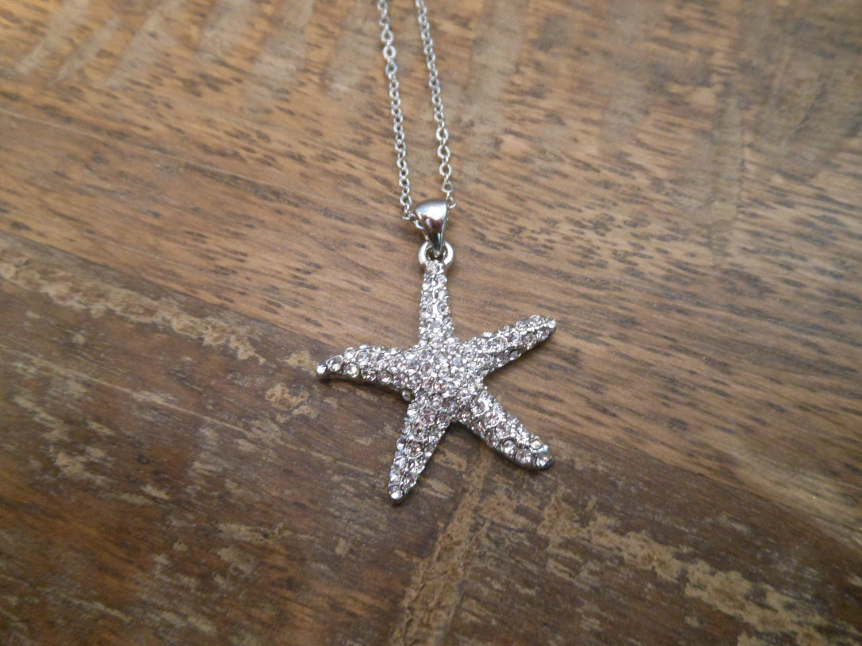 rhinestone starfish necklace silver starfish necklace
