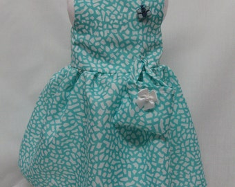 Turquoise Print Dress for 18 inch doll like the American Girl. ( MARKED DOWN)