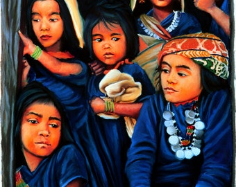 Nepalese Kids Fine Art Print, Six Children, Giclee Print, Pastel Painting By Jan Maitland, Blue, Figures
