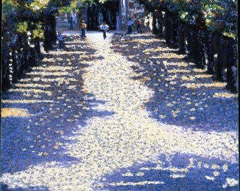 Burgos, Spain Fine Art Giclee Print, Archival Print, Path of Sun and Shade, Pastel Painting By Jan Maitland, Blue, Cream, Trees, Landscape