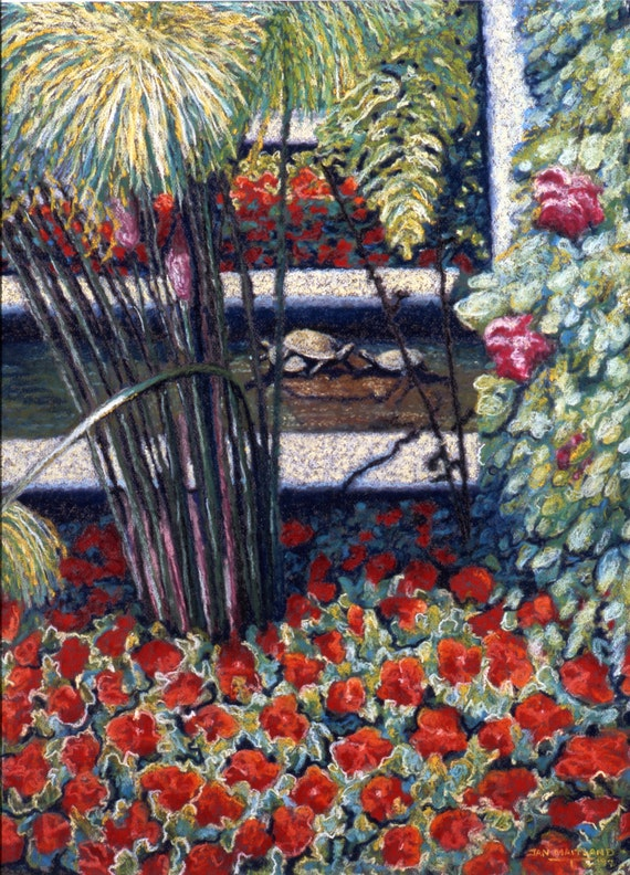 Garden Turtles Fine Art Print, Red Flowers, Turtles in a Fountain, Landscape, Pastel Painting By Jan Maitland