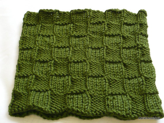 Hand Knit Neckwarmer - Olive Green Cowl, Green Gaiter, Oakland As Fan Neck Warmer, Man's Cowl, Made in the USA, Vegan Cowl, Ready to Ship