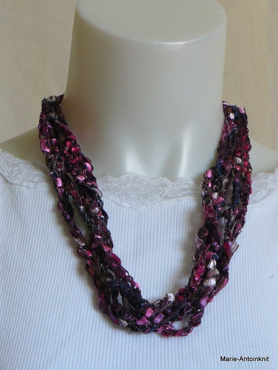 Crocheted Ribbon Necklace, Ladder Yarn Necklace in Pink & Violet