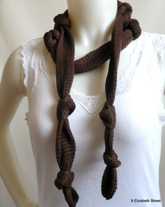 Hand knit skinny scarf, knit tie, extra long rocker scarf in chocolate brown