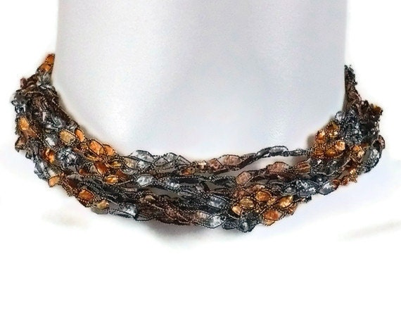 Copper & Gray Crocheted Ribbon Necklace, Ladder Yarn Necklace, Crochet Jewelry