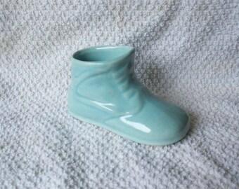 Vintage McMaster Blue Ceramic Baby Shoe