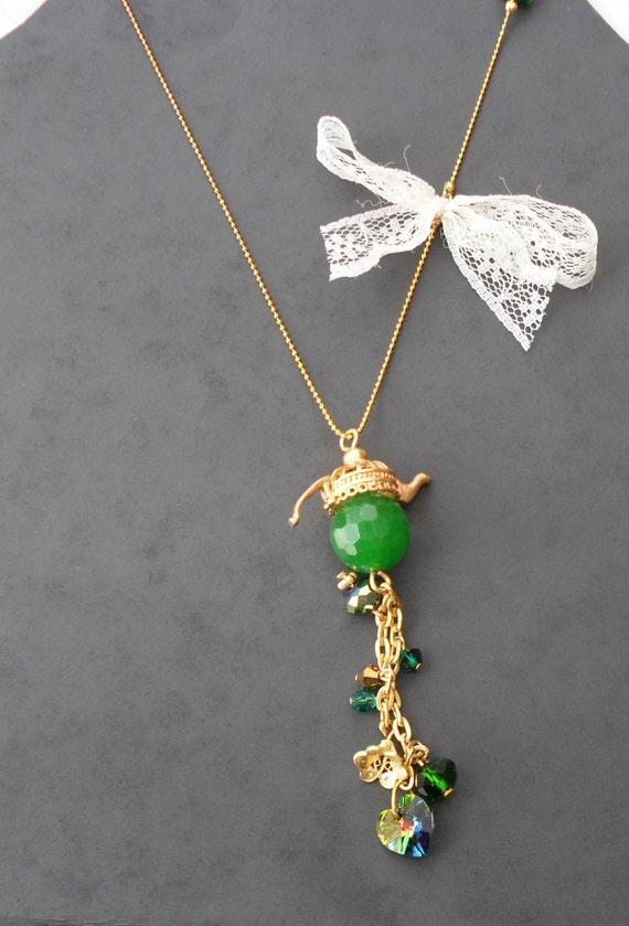 Green Teapot Necklace with Swarovski Items