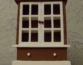 Brown And White Rustic Cabinet/Hutch Doll House Miniature