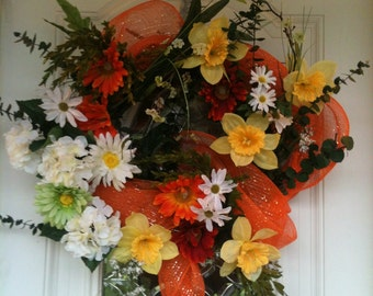 Summer Wreath, Front Door, Colorful and Bright, Outdoor Decor, Spring Wreath