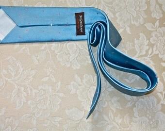 YSL Necktie: Vintage Yves Saint Laurent Powder Blue Mens Necktie circa 1980s