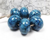 Marbled Aquamarine- Handmade Lampwork Glass Beads SRA (6)