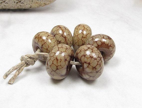 Marbled Latte - Handmade Lampwork Glass Beads SRA (6)