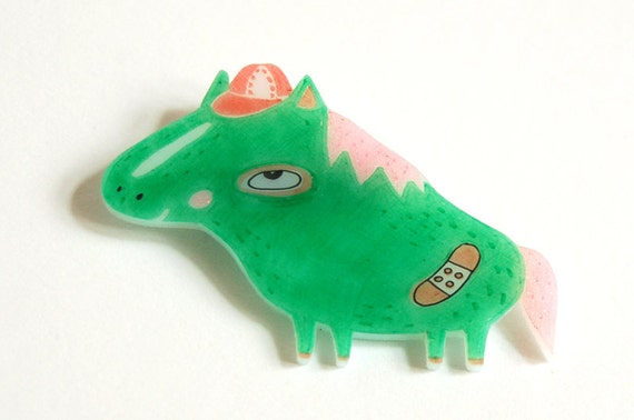 JOACHIM the magic pony - shrink plastic brooch