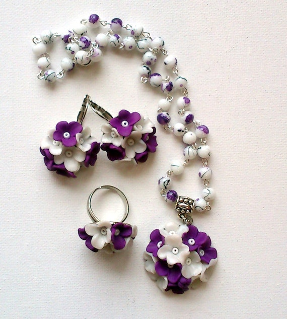 Violet jewellery set-Flower jewellery set-Earrings, pendant, ring set-Pearl and violet