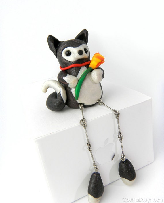 Cute Puppy Dog with a Flower (Dangling Legs) - Miniature Sculpture from Polymer Clay (Sculpey)