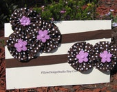 SALE: Mother daughter headband set -- brown and pink head bands -- baby shower gift, baby photo props