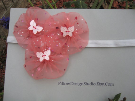 Flower girl headband -- pink head band with sparkly pink butterflies