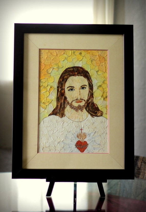 Jesus loves me, real butterfly wing, organic mosaic, unique 8x12