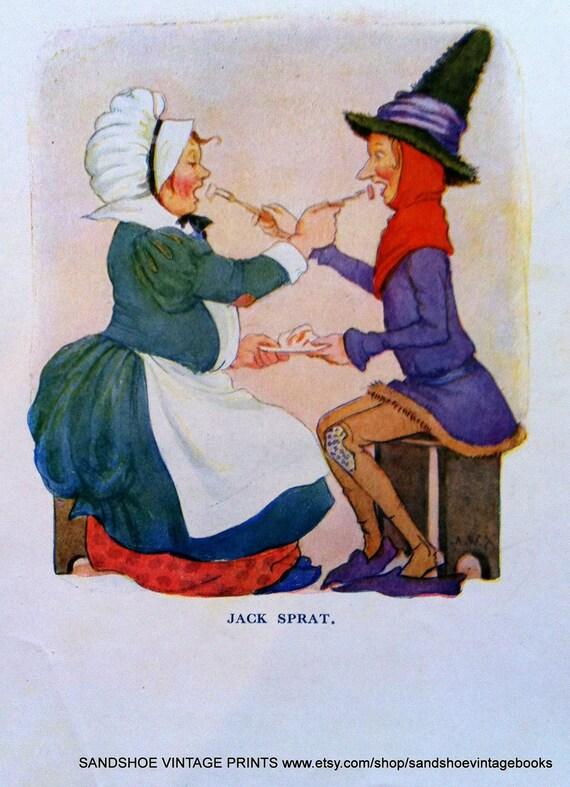 1910s Jack Sprat NURSERY RHYME Print
