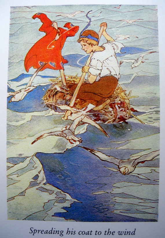 1907 PETER PAN in a BOAT Alice B. Woodward Print