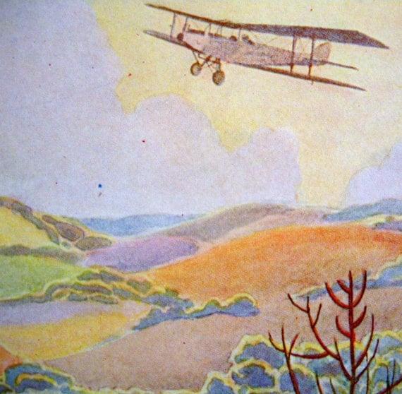 1920s AMELIARANNE AIRPLANE over COUNTRYSIDE  Susan B. Pearse Print