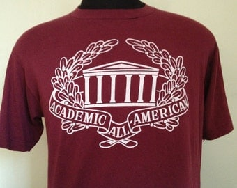 80s Vintage Academic All American maroon T-Shirt - LARGE 42-44