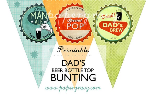 INSTANT DOWNLOAD Printable retro Fathers Beer style Bunting Dads Birthday