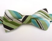 Boys Bow Tie- Brown, Green and Blue Striped - Sizes newborn-adult
