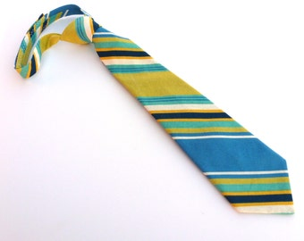 Boys Blue, White, and Lime Green Striped Bow Tie- Sizes newborn-7years