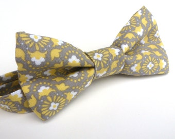 Boys Bow Tie- Grey and Yellow Floral - Sizes newborn-adult