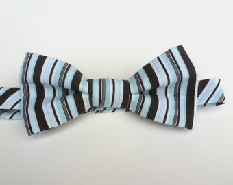 Boys Bow Tie- Brown and Blue Stripe - Sizes newborn-adult