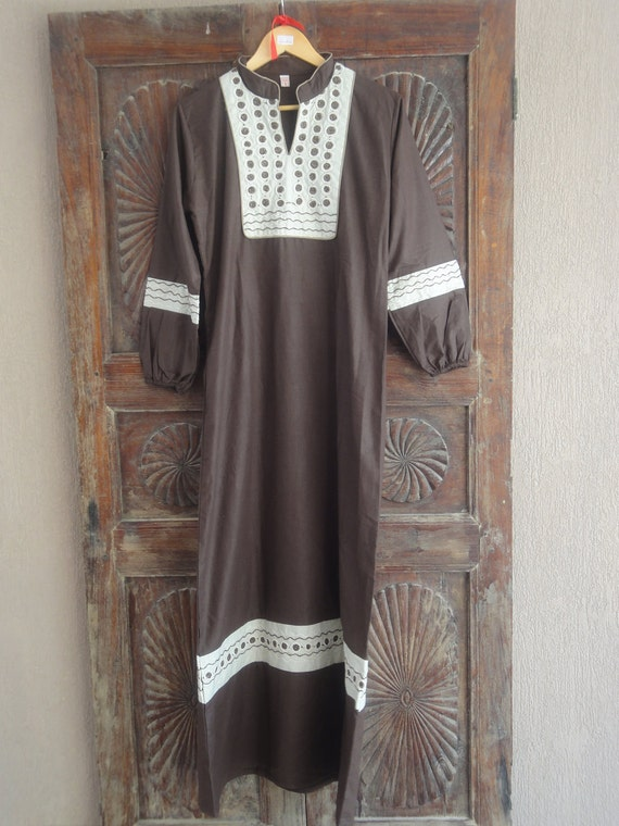 Cotton long kaftan dress brown embroidered tunic Egyptian style