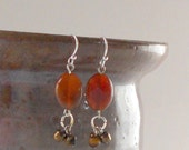 Rust Earrings Agate Dangle Autumn Rustic 3 Bead Cluster Earth Tones Oval Silver Dangles Natural Stone Fashion Jewelry