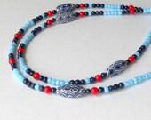 SALE Boho Chic ID Lanyard Navy Light Blue Name Security Badge 60s Style 70s Fashion Mod Red Beaded Teacher Gift Bohemian