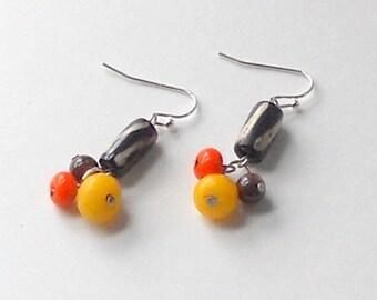 Bone Dangle Earrings - Orange Brown Yellow Bead Cluster - Fashion Dangles - Tribal Jewelry - African Influence - Khaki Clothing
