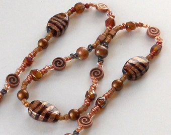 SALE Copper Long Beaded Necklace Autumn Colors Fashion Jewelry Bronze Brown Lampwork Contemporary Whimsical Swirl Beads Free Shipping