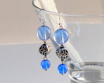 Blue Dangle Earrings Matte Antique Silver 3D Hollow Cutouts Beaded Light Blue Glass Dangles Fashion Jewelry