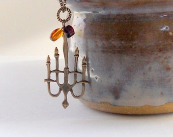 Chandelier Pendant Necklace Steampunk Fashion Amber Amethyst Purple Plum Glass Beads Antique Bronze Candelstick