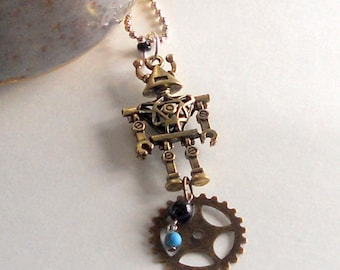 Robot Pendant Steampunk Gear Unisex 3D Fashion Necklace Turquoise Howlite Bead Antique Bronze Chain Trendy Mixed Media FREE Shipping