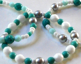 Turquoise Green Set of 3 Bracelets Stacking Bangles Opaque White Matte Silver Summer Vacation Resort Cruise Czech Beaded Fashion Jewelry
