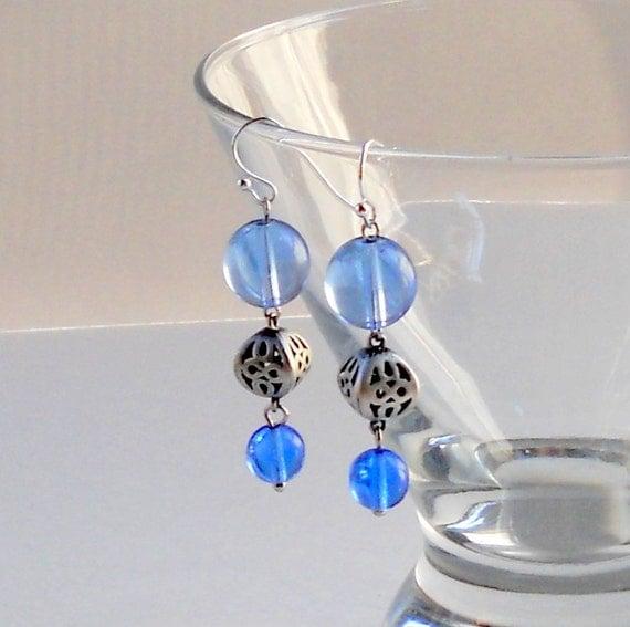 Blue Dangle Earrings Matte Antique Silver 3D Hollow Cutouts Beaded Light Blue Glass Dangles Fashion Jewelry