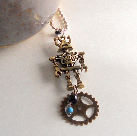 SALE Robot Pendant Steampunk Gear Unisex 3D Fashion Necklace Turquoise Howlite Bead Antique Bronze Chain Trendy Mixed Media FREE Shipping