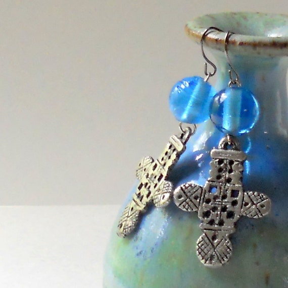 Cross Earrings Pewter Blue Dangle Contemporary Christian Silver Dangles Modern Fashion Jewelry Paisley Beading Free Shipping