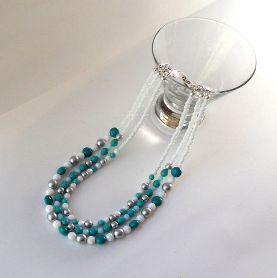 Turquoise Green Statement Necklace 3 Three Strand White Matte Silver Caribbean Beach Faceted Opaque Czech Fashion Beaded Glass Free Shipping