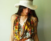vacation. handmade two tone hat with hemp and organic cotton. medium wire brim. one size.