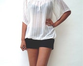 Womens Top Sheer Loose White Shirt One Size - Donations to RED CROSS