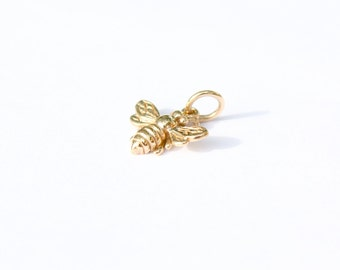 Bronze Bee Charm, Bronze Bumble Bee Charm, Honey Bee Charm, Insect Charm