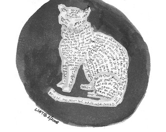 Sitting cat drawing , black and white sketch print on A5 paper of Jewish cat with hebrew letters great for cat lovers or animal lovers gift